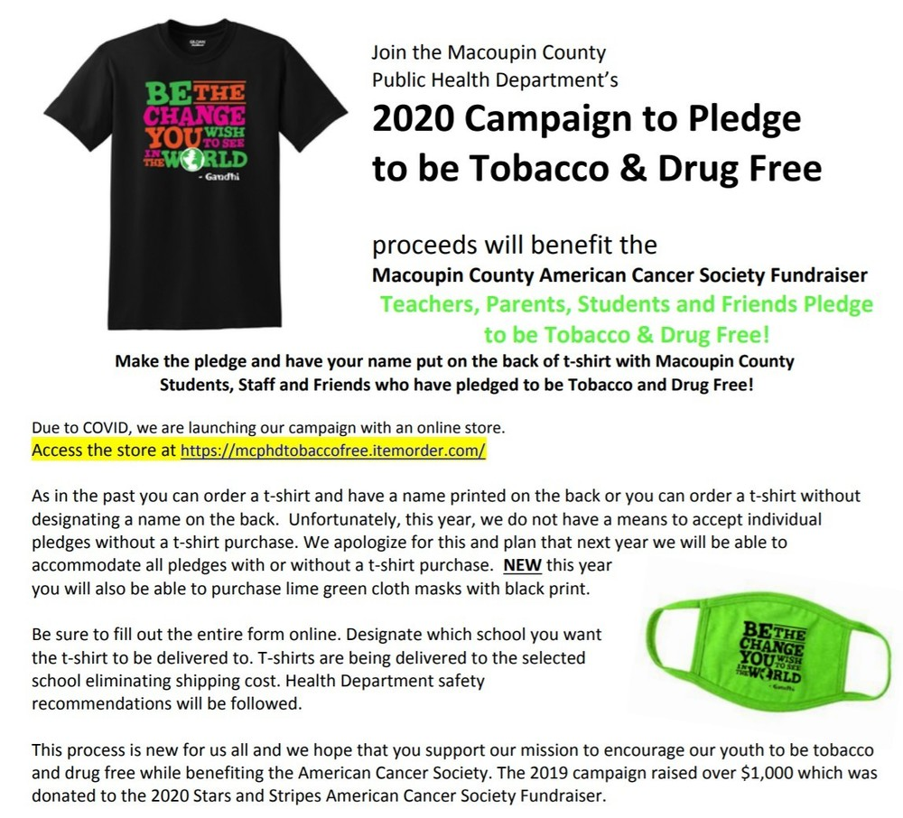 2020 Campaign to Pledge to be Tobacco & Drug Free