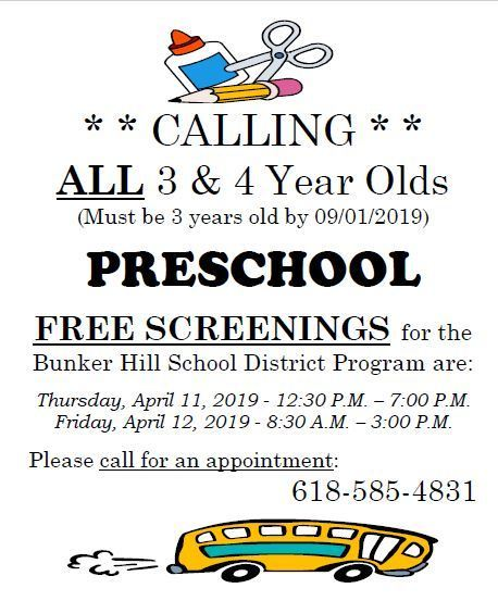 Pre K screening flyer