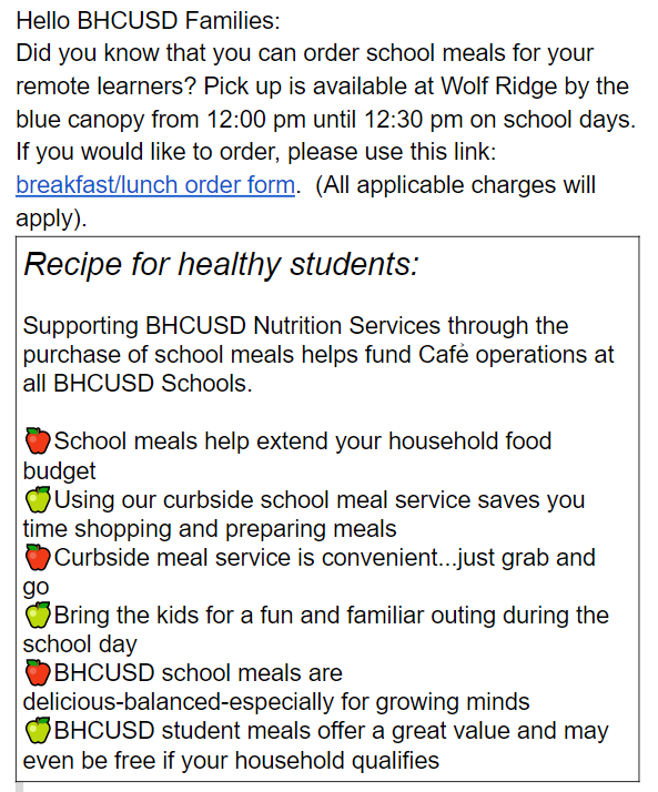 Recipe for healthy students